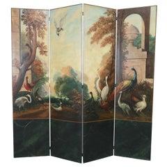 Italian Neoclassical Style Bird and Garden Vignette Folding Screen