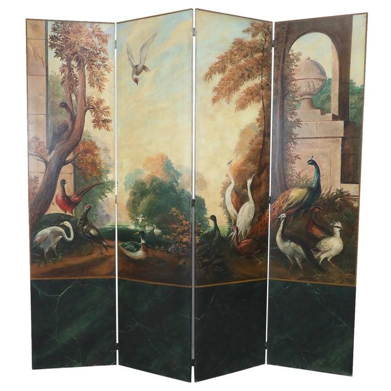 Italian Neoclassical Style Bird and Garden Vignette Folding Screen For Sale
