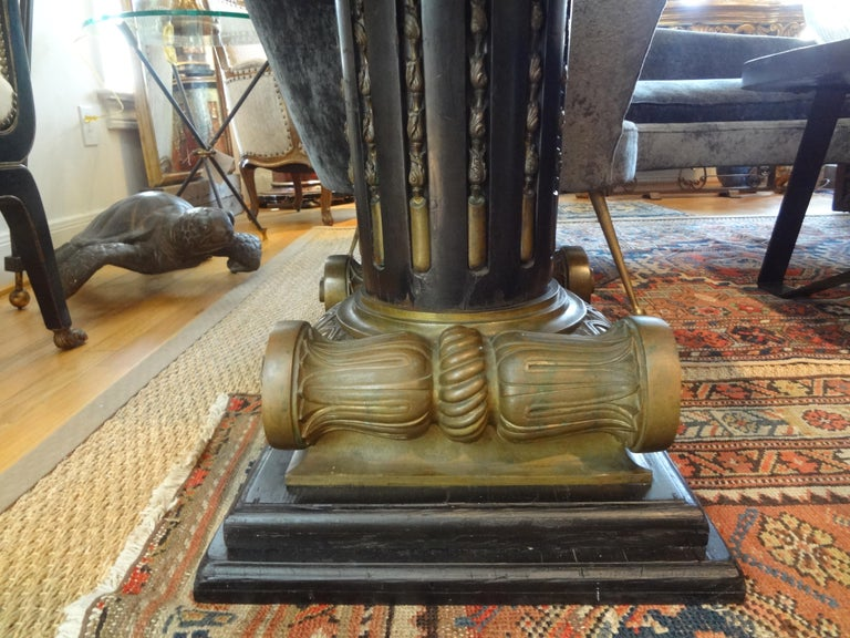 Italian Neoclassical Style Bronze Ionic Column Table with Marble Top For Sale 6