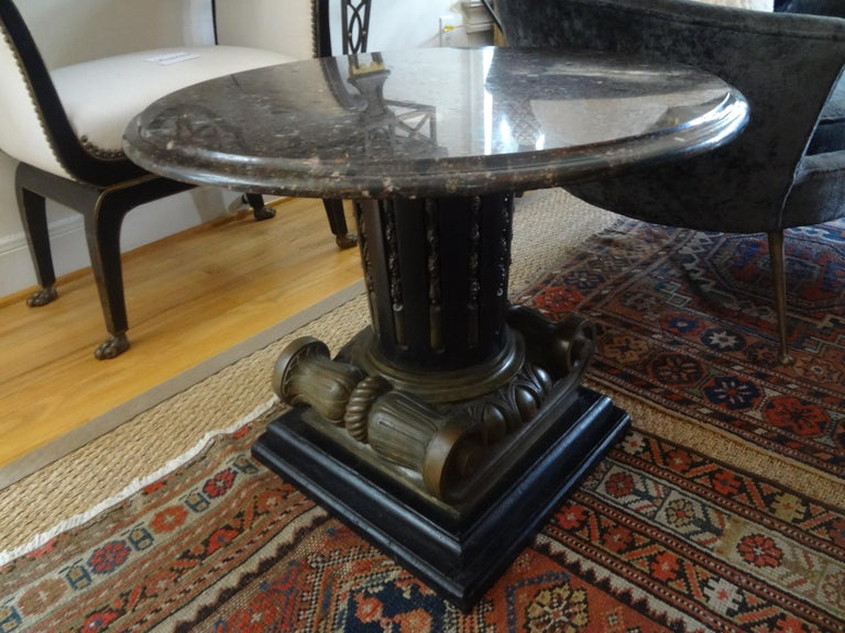 Italian Neoclassical Style Bronze Ionic Column Table with Marble Top For Sale 9