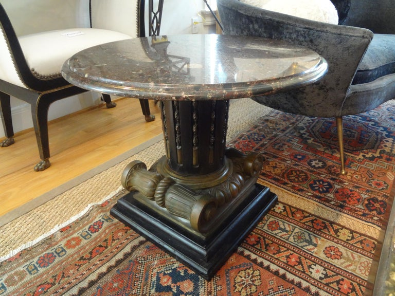 Italian Neoclassical Style Bronze Ionic Column Table with Marble Top In Good Condition For Sale In Houston, TX