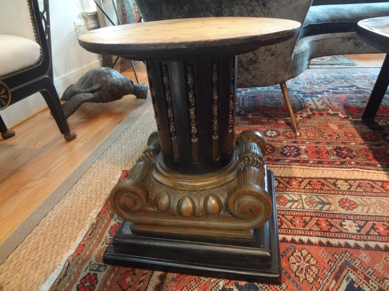Early 20th Century Italian Neoclassical Style Bronze Ionic Column Table with Marble Top For Sale