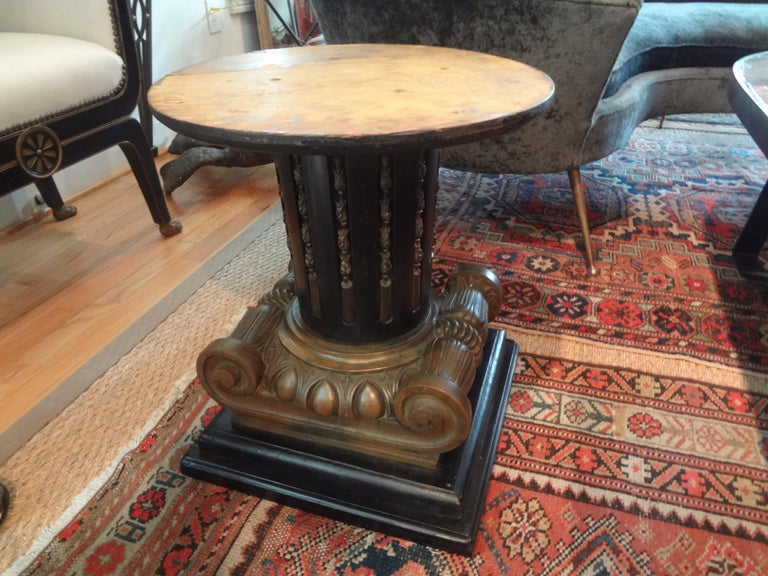 Italian Neoclassical Style Bronze Ionic Column Table with Marble Top For Sale 1