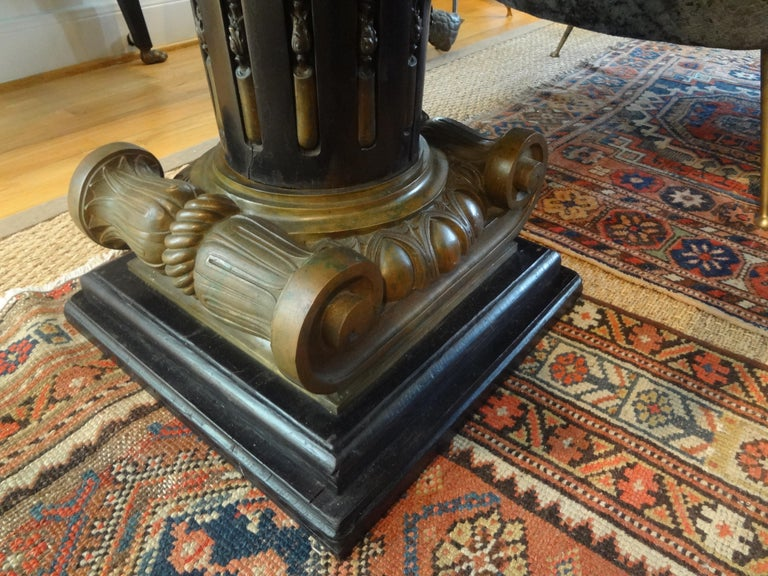 Italian Neoclassical Style Bronze Ionic Column Table with Marble Top For Sale 3