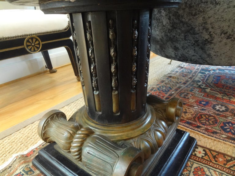 Italian Neoclassical Style Bronze Ionic Column Table with Marble Top For Sale 4