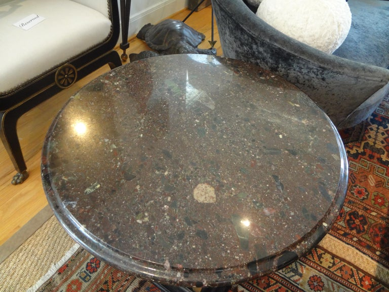 Italian Neoclassical Style Bronze Ionic Column Table with Marble Top For Sale 5