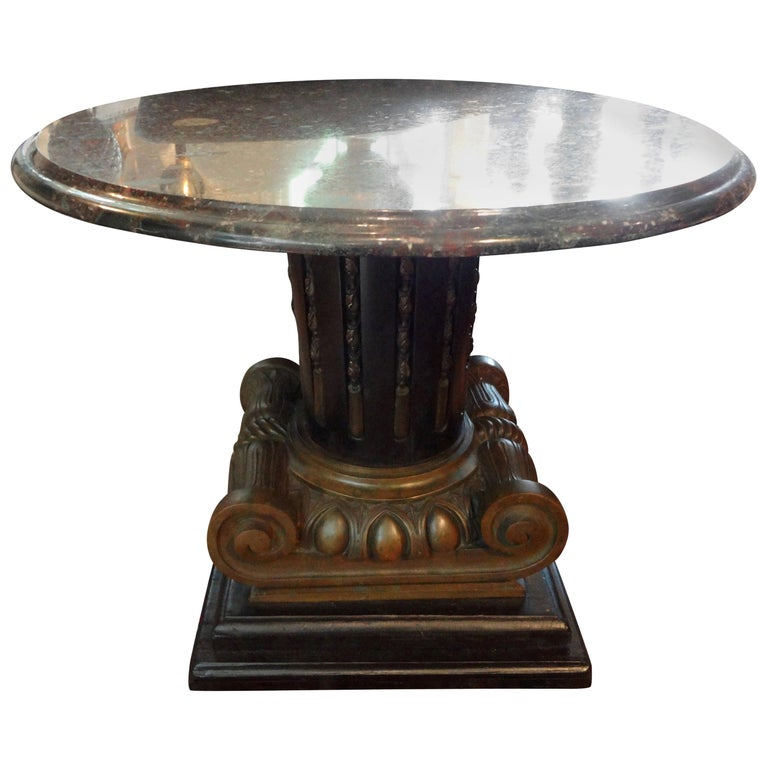 Italian Neoclassical Style Bronze Ionic Column Table with Marble Top For Sale