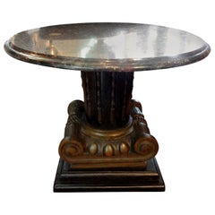 Italian Neoclassical Style Bronze Ionic Column Table with Marble Top