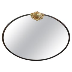 Italian Neoclassical Style Bronze Mirror with Shell Cartouche