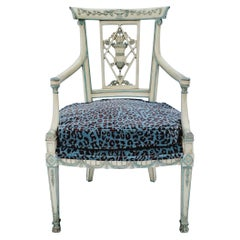 Italian Neoclassical Style Carved Bergère Chair in Leopard Velvet