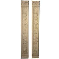 Italian Neoclassical Style Carved Marble Pilasters Architectural Elements, Pair
