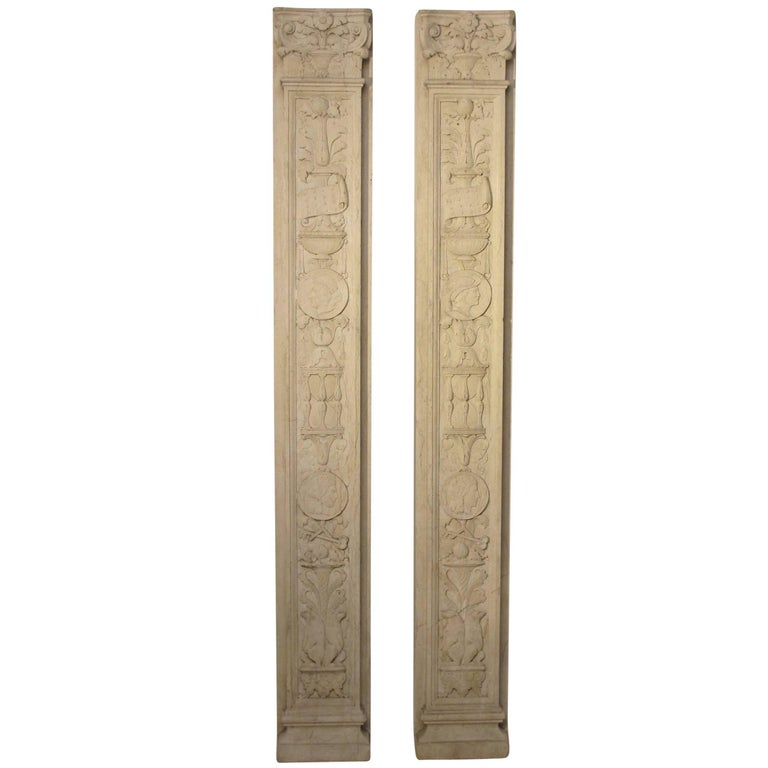 Italian Neoclassical Style Carved Marble Pilasters Architectural Elements, Pair For Sale
