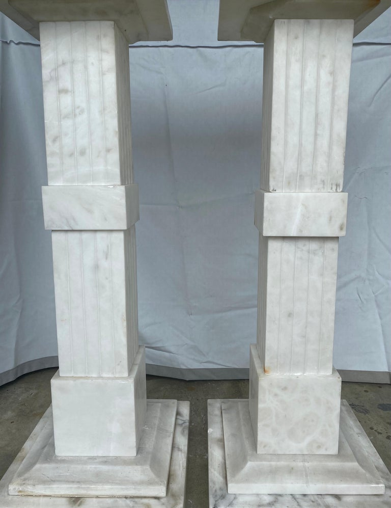 Italian Neoclassical Style Fluted Onyx Marble Pedestal Column Stands, Italy For Sale 3