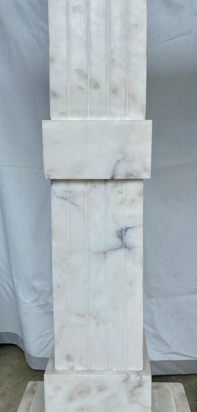 Italian Neoclassical Style Fluted Onyx Marble Pedestal Column Stands, Italy For Sale 5