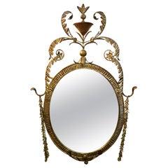 Italian Neoclassical Style Gilt Metal Mirror, Palladio Attributed