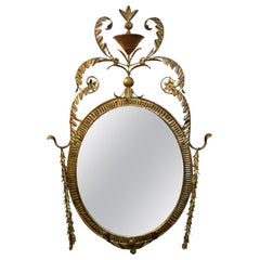 Italian Neoclassical Style Gilt Metal Mirror, Palladio Attributed