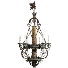 Italian Neoclassical Style Giltwood and Green Painted Tole Chandelier