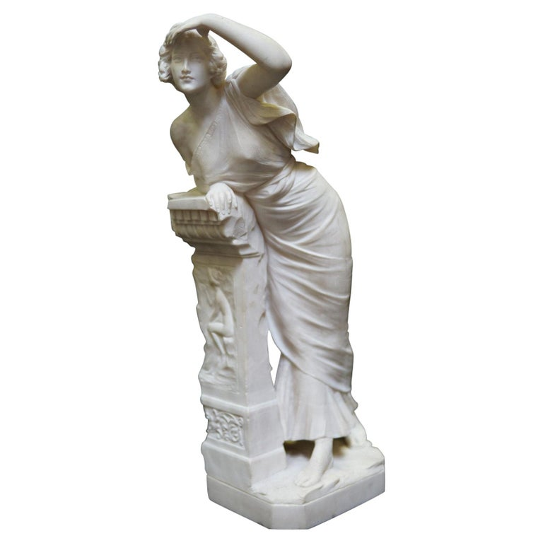 Italian Neoclassical Style Hand-Carved Alabaster Sculpture, 19 Century For Sale