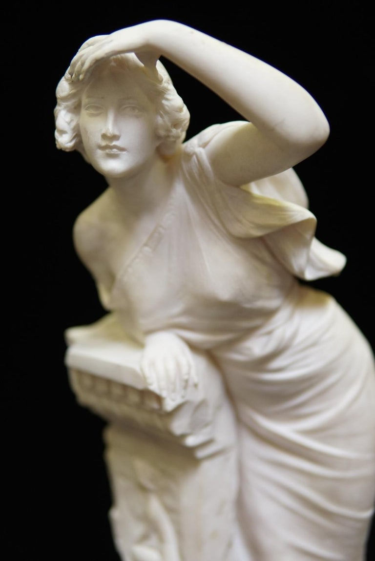 Italian Neoclassical Style Hand-Carved Alabaster Sculpture, 19 Century In Good Condition For Sale In Cypress, CA