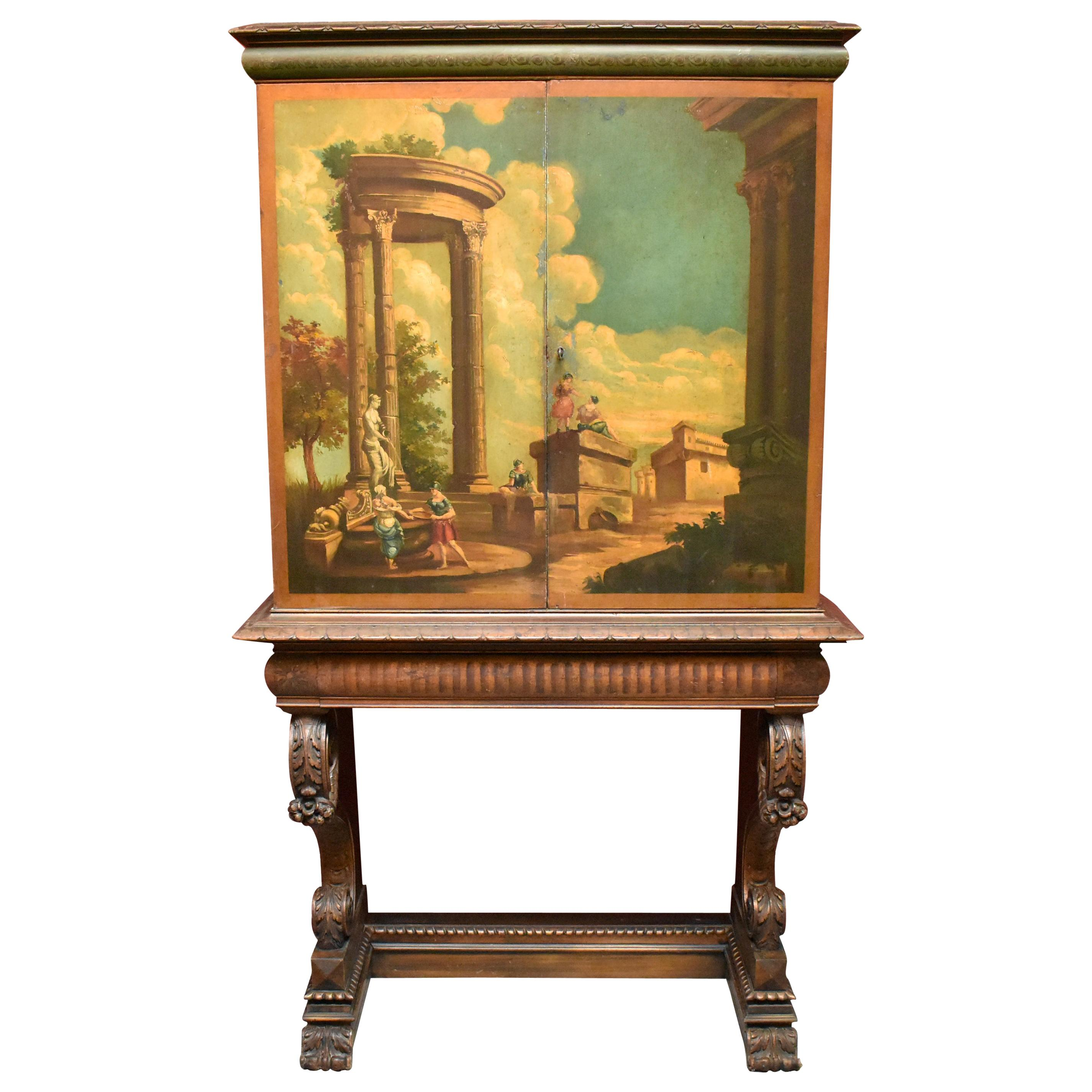 Italian Neoclassical Style Hand Painted Cabinet on Stand