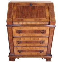 Italian Neoclassical Style Inlaid Walnut Slant Front Desk of Small Size