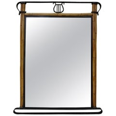 Italian Neoclassical Style Iron and Bamboo Lyre Mirror