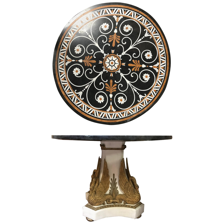 Italian Neoclassical Style Marble Veneered Round Table