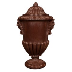 Italian Neoclassical Style Mid-19th Century Rosso Antico Marble Lidded Urn
