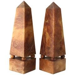 Italian Neoclassical Style Obelisks in Extinct Brown Alabaster