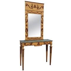 Italienische Konsole und Spiegel im Neoklassischen Stil Bemalt und Dekoriert