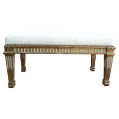 Italian Neoclassical Style Painted and Parcel Gilt Bench