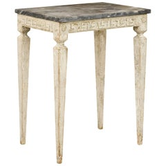 Italian Neoclassical Style Painted Side Table with Dark Marble Top, circa 1920