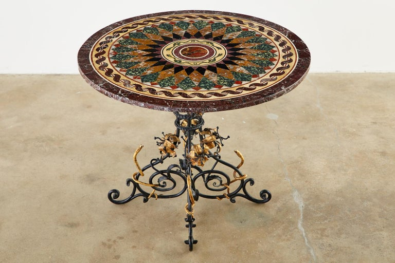 Hand-Crafted Italian Neoclassical Style Pietra Dura Marble Centre Table