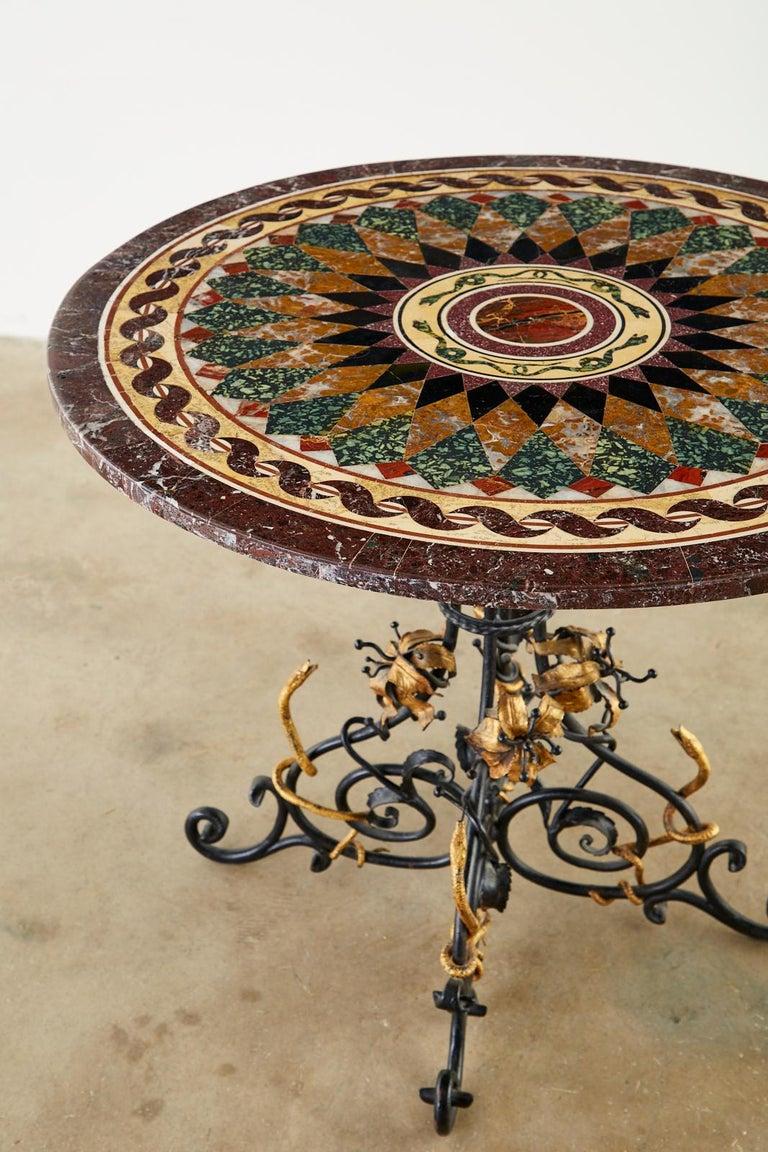 Iron Italian Neoclassical Style Pietra Dura Marble Centre Table
