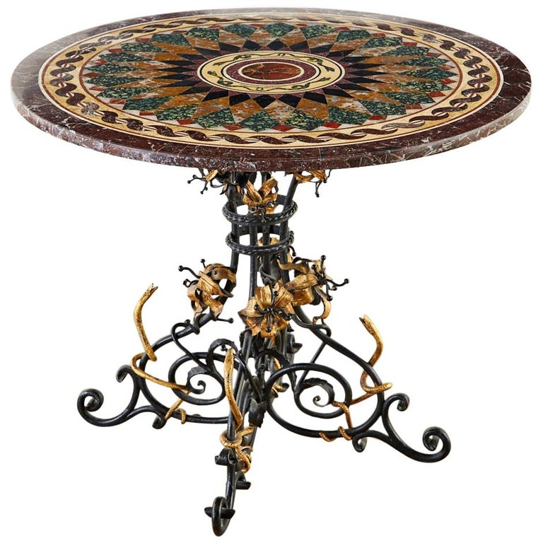 Italian Neoclassical Style Pietra Dura Marble Centre Table