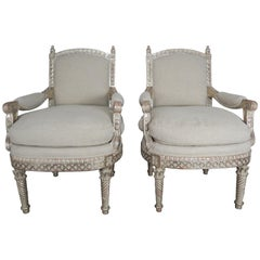 Italian Neoclassical Style Silver Gilt Armchairs, Pair