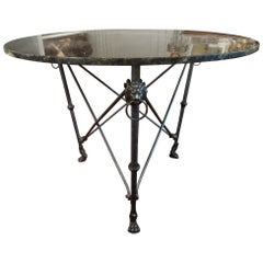 Italian Neoclassical Style Steel and Bronze Center Table after Giacometti