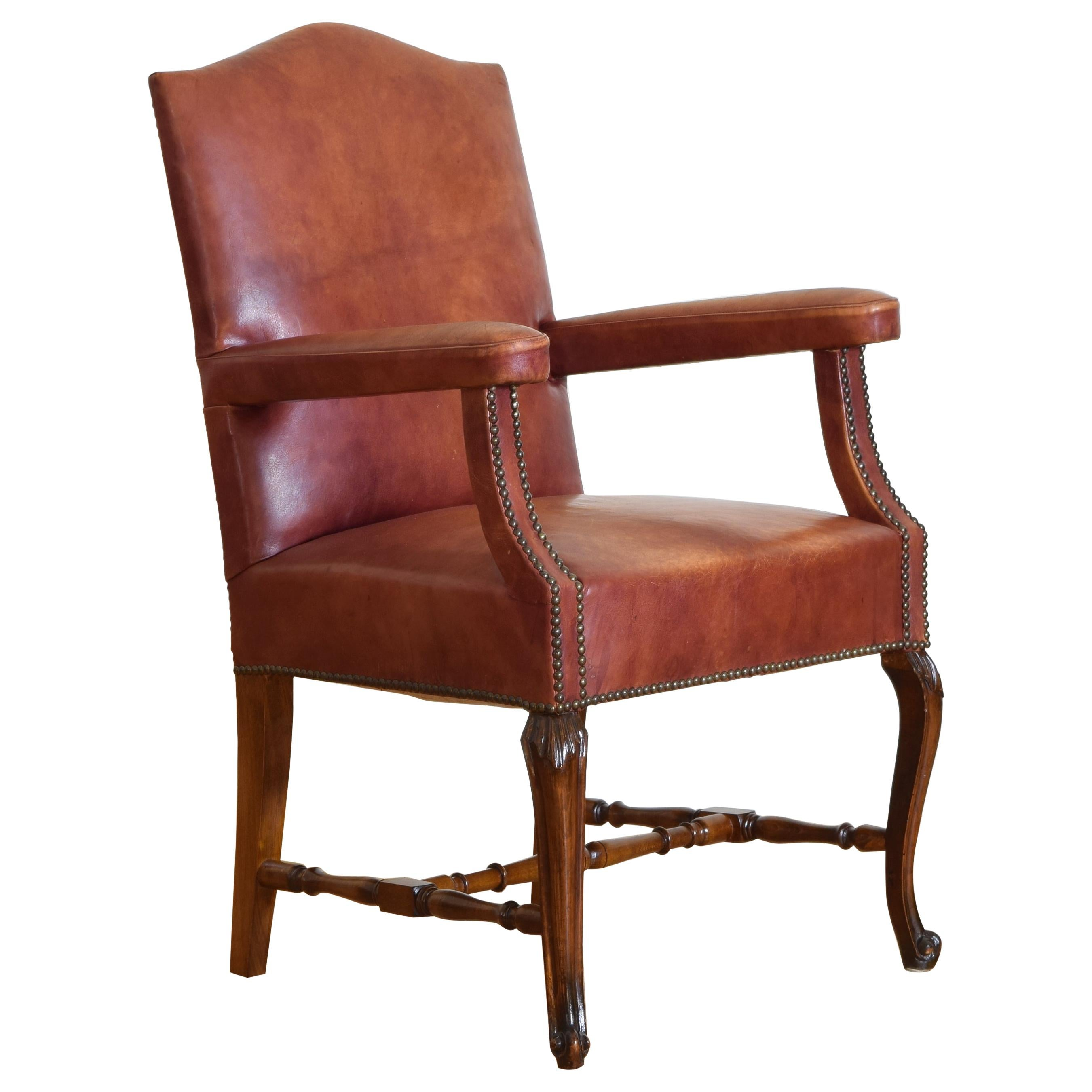 Italian Neoclassical Style Walnut & Leather Upholstered Armchair