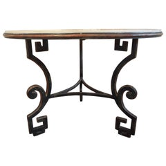 Italian Neoclassical Style Wrought Iron Center Table with a Travertine Top