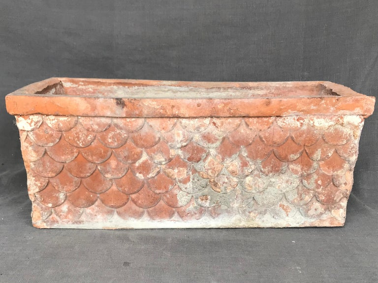 Italian neoclassical terracotta planter. Antique rectangular planter with all-over fish-scale pattern, Italy, early 1800. Dimensions: 18