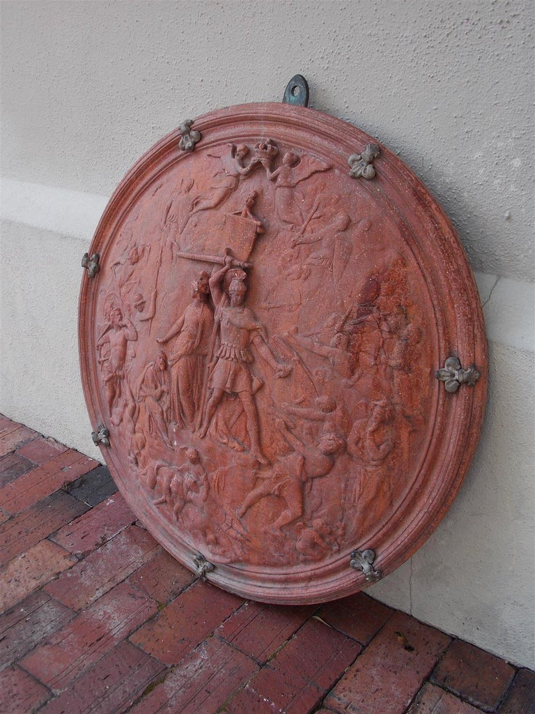 Hand-Carved Italian Neoclassical Terracotta Shield with Bronze Fleur-de-Lis Mounts, C. 1840 For Sale