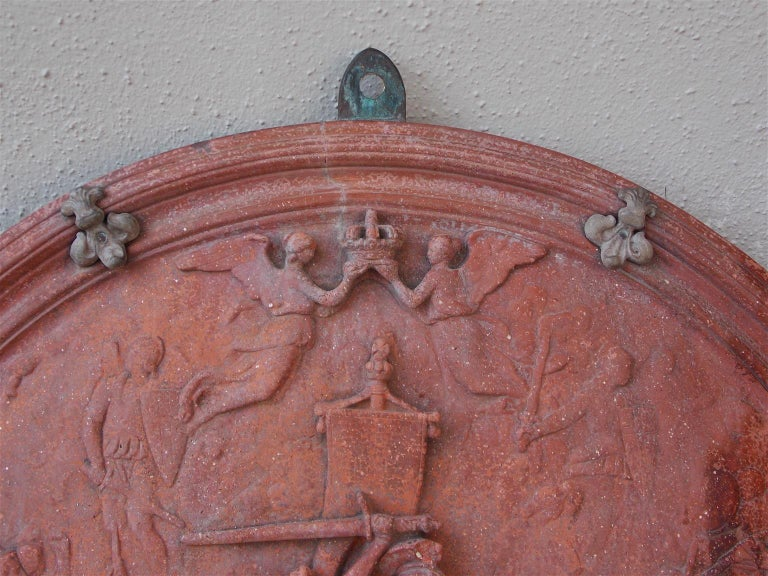 Italian Neoclassical Terracotta Shield with Bronze Fleur-de-Lis Mounts, C. 1840 In Excellent Condition For Sale In Charleston, SC