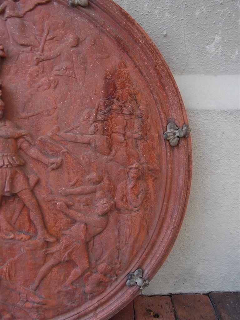 Italian Neoclassical Terracotta Shield with Bronze Fleur-de-Lis Mounts, C. 1840 For Sale 3