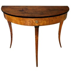 Italian Neoclassical Walnut and Beechwood Demilune Console Table