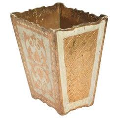 Italian Neoclassical Wood Florentine Gilt Trash Can Waste Basket