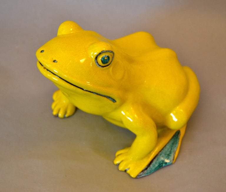 Italian Neon Yellow & Green Ceramic Fountain Frog Outdoor Sculpture, Pottery For Sale 4