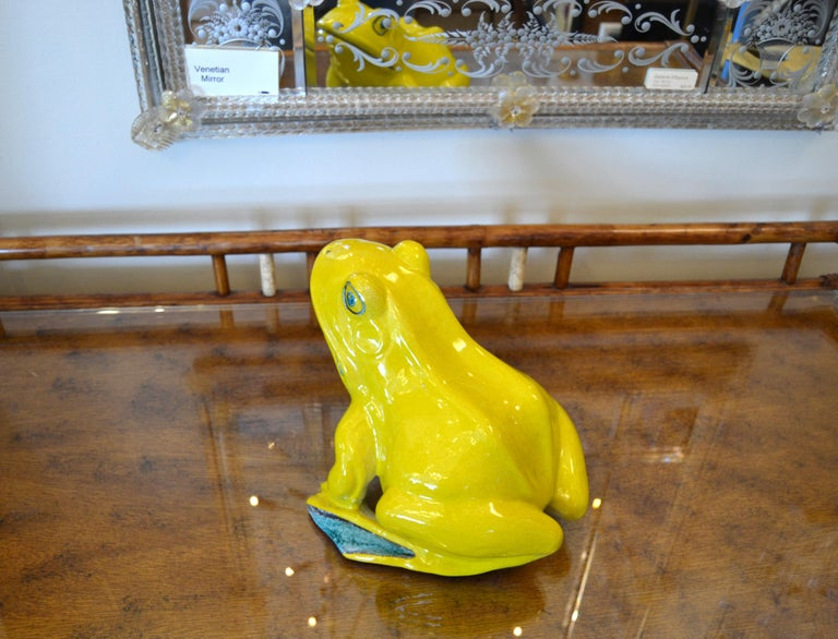 Italian Neon Yellow & Green Ceramic Fountain Frog Outdoor Sculpture, Pottery For Sale 7