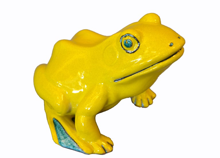 Whimsical ceramic neon yellow & green Fountain frog or outdoor sculpture, decorative animal pottery from Italy. A hole in his mouth allows water to come out. Marked underneath: Made in Italy.