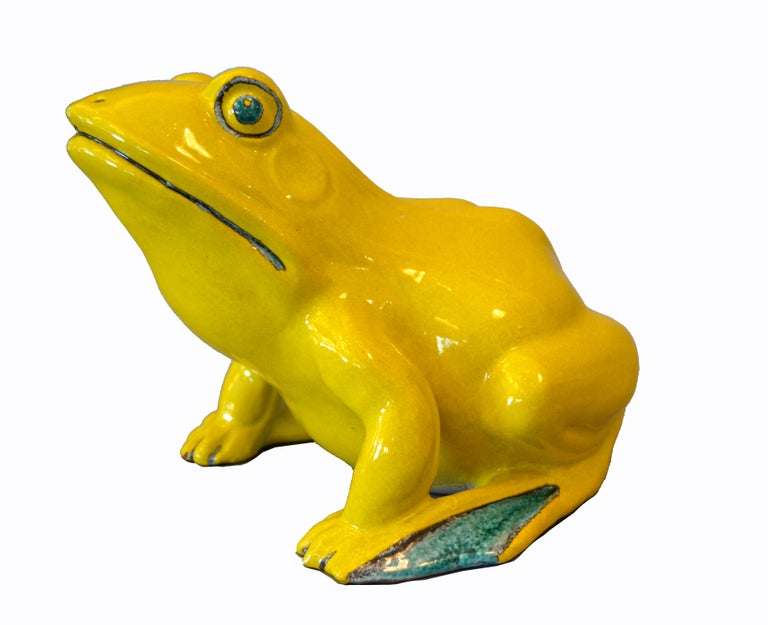 Mid-Century Modern Italian Neon Yellow & Green Ceramic Fountain Frog Outdoor Sculpture, Pottery For Sale