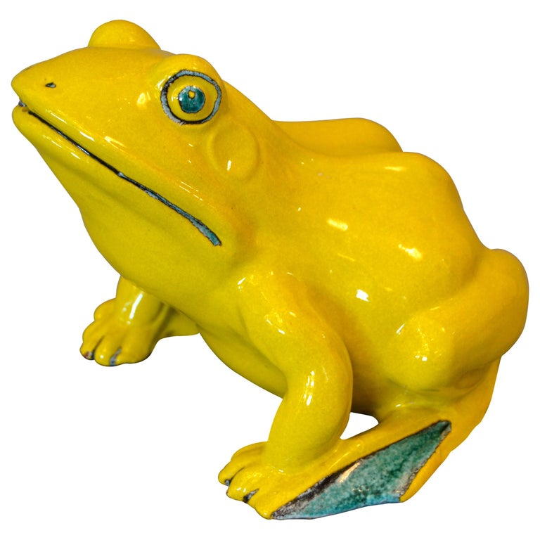 Italian Neon Yellow & Green Ceramic Fountain Frog Outdoor Sculpture, Pottery For Sale